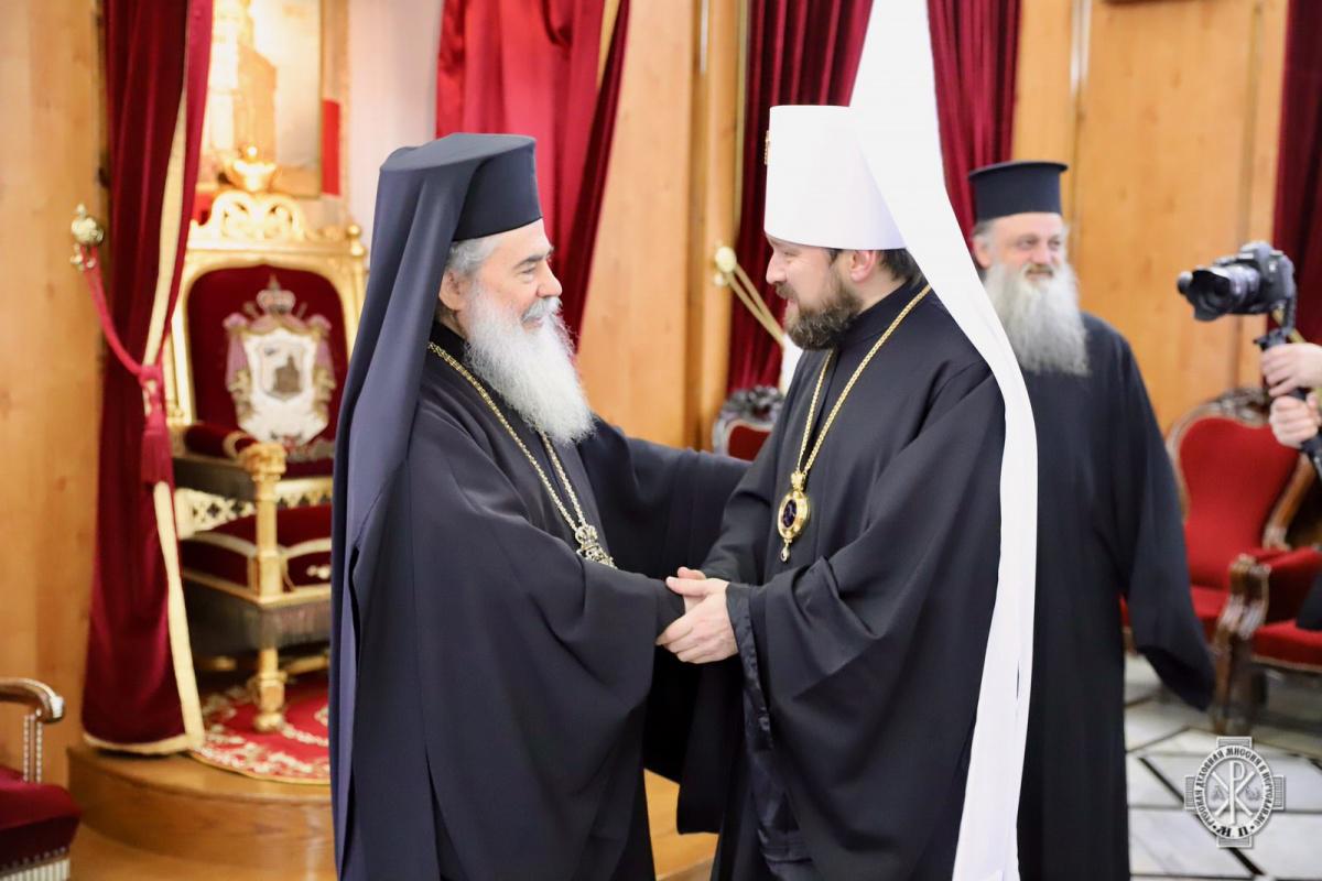 Митрополит Волоколамский Иларион встретился с Предстоятелем Иерусалимской Православной Церкви