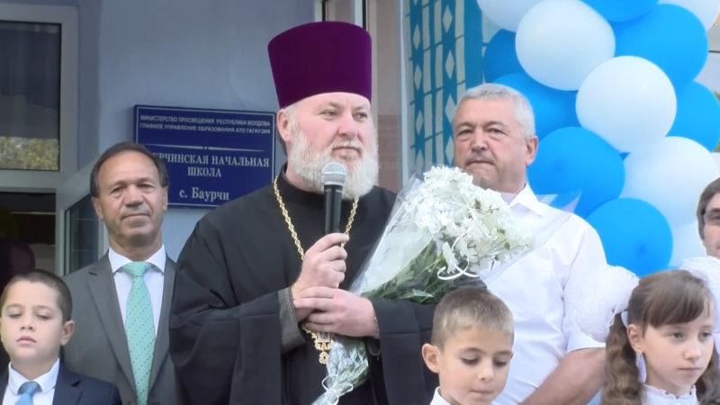(ВИДЕО) Благочинный протоиерей Петр Келеш принял участие на торжественной линейке в лицее с. Баурчи